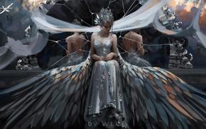 Picture girl, blood, fantasy, dress, wings, mood, sadness, elf, reflection, digital art, artwork, princess, fantasy art, …
