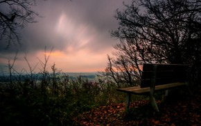 Picture the sky, night, bench
