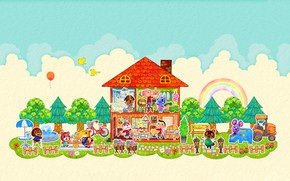 Picture house, room, rainbow, vector, cloud, mouse, pussy, art, yard, bear, dog, animals, children's