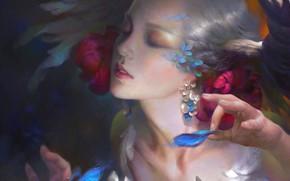 Wallpaper face, earrings, hands, hairstyle, flowers in her hair, elf, white hair, art, eyes closed, Wei ...