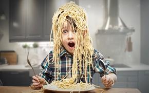 Picture child, boy, kitchen, Creative, boy, pasta, pasta