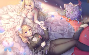 Picture Anime, Girls, Pair, Art
