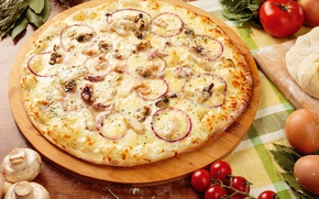 Picture mushrooms, cheese, pizza, tomatoes