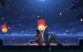 Picture sea, girl, night, wolf, fantasy, lanterns, listen to the music