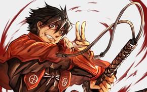 Picture blood, anime, katana, man, ken, blade, samurai, asian, japanese, bushido, drifter, Drifters, kenjutsu