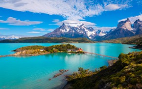 Picture the sky, the sun, clouds, trees, mountains, bridge, lake, house, island, Chile, Patagonia, Pehoe Lake