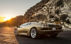 Picture the sun, sunset, Lamborghini, supercar, Diablo, Lamborghini, Diablo
