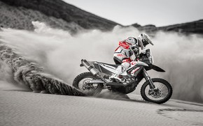 Picture Sand, Skid, Motorcycle, Hero, Rally, Dakar, Dakar, Rally, BW, Hero MotoSports