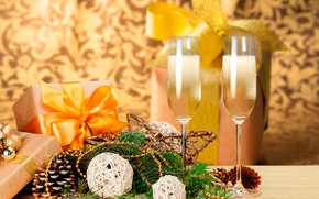 Picture decoration, branches, table, background, holiday, glasses, Christmas, gifts, New year, champagne, bumps, ribbons, box, bokeh