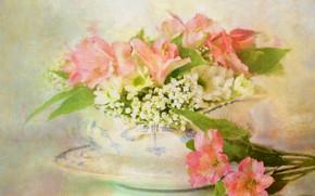 Picture flowers, vase, Alstroemeria