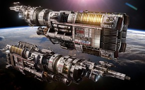 Picture space, planet, ships, Fractured Space, USR Brawler