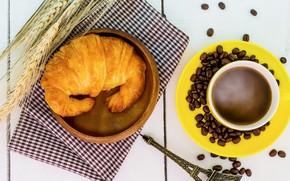 Picture coffee, grain, Breakfast, Cup, cup, beans, coffee, croissants, growing, breakfast