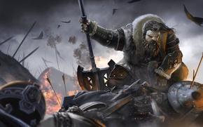Picture battlefield, sword, fantasy, Dwarf, armor, birds, painting, battle, digital art, artwork, shield, warrior, fantasy art, …