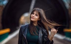Picture Valeria, girl, jacket, Hakan Erenler, photo, the wind, hair