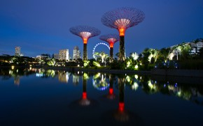 Picture the sky, water, trees, night, design, lights, Park, reflection, river, palm trees, home, Singapore, facilities, ...