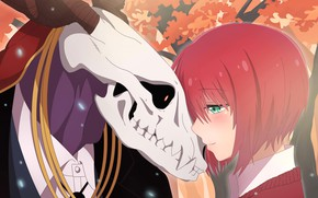 Picture girl, skull, anime, art, Mahou Tsukai no Yome, The Ancient Magus' Bride, Bride of the ...