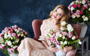 Picture look, girl, flowers, roses, makeup, dress, hairstyle, tulips, brown hair, beautiful, in the chair, posing, ...