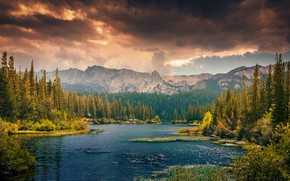 Picture autumn, forest, the sky, water, clouds, mountains, clouds, river, shore, tops, ate, pond