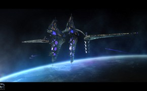 Picture space, planet, Online Strategy Game, A.D. 2460, Displacement Battlestation Large