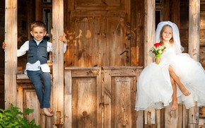 Wallpaper boy, smile, children, bouquet, dress, girl, the bride