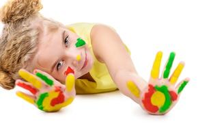 Picture paint, child, hands, girl, color, child, Hands, Glance, Finger, Little girls