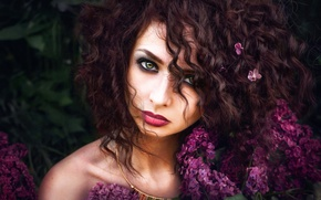 Picture flowers, hair, portrait, makeup, lilac