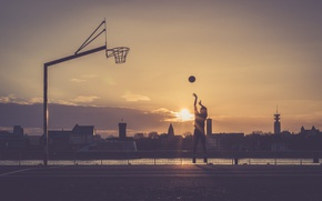 Picture sunset, the city, sport, the game