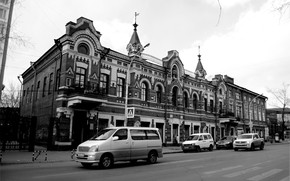 Picture house, Irkutsk, black and white photography