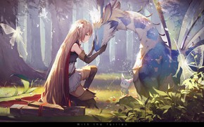 Picture forest, animals, girl, trees, nature, weapons, magic, wings, anime, warrior, art, fairies, arisa, kieed, shadowverse