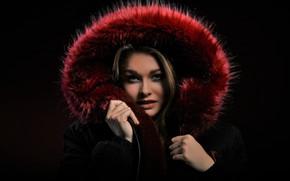 Picture look, face, model, fur, coat