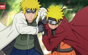 Picture anime, father, art, Naruto, Naruto, son, Minato, Uzumaki