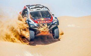 Picture Sand, 2008, Sport, Speed, Race, Peugeot, Lights, Red Bull, Rally, Rally, Sport, The front, Dune, …