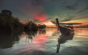 Picture clouds, boat, Thailand, glow, Krabi