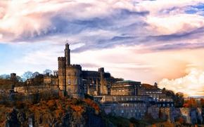 Picture the sky, clouds, trees, stones, castle, rocks, wall, UK, Edinburgh