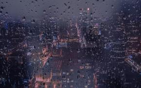 Picture Night, The city, Rain, Canada, Window, Building, City, Vancouver, Canada, Night, Rain, Vancouver, Drops, Drops …