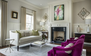 Picture design, sofa, chair, fireplace, living room