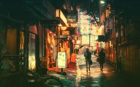 Picture Night, The city, Neon, People, Light, Tokyo, Lights, Tokyo, Lane, Signs, Masashi Wakasa