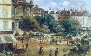 Wallpaper Pierre Auguste Renoir, Pierre Auguste Renoir, picture, the urban landscape, The place de La trinité. ...