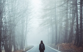 Picture Nature, Girl, Road, Fog, Trees