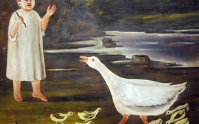 Picture Primitivism, PIROSMANASHVILI Nikolai Aslanovich, A girl and a goose with goslings