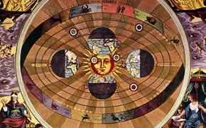 Picture the sun, earth, the signs of the zodiac, Nicolaus Copernicus, The scientific revolution