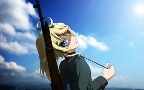 Picture fire, girl, gun, soldier, sky, military, weapon, war, anime, cloud, blue eyes, blonde, asian, rifle, …