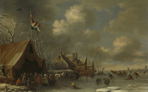 Wallpaper winter, landscape, people, picture, Fun on the Ice, Thomas Heremans