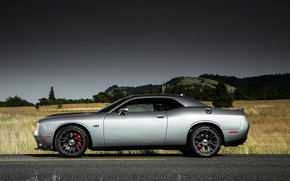 Picture Field, Road, Machine, Classic, Dodge, Challenger, Drives, Side View