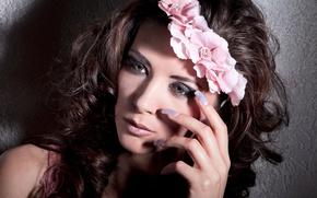 Picture flowers, model, pretty, brunette