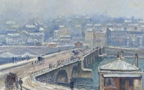 Wallpaper The bridge at Saint-cloud under the Snow, Georges-Henri Manzana-Pissarro, Georges Henri Manzana Pissarro, winter, the ...