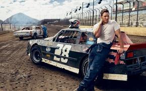 Wallpaper auto, track, t-shirt, actor, race, helmet, jumpsuit, racer, photoshoot, stadium, Vanity Fair, Chris Pratt, Mark ...
