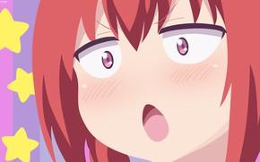 Picture demon, red, girl, star, devil, red hair, anime, face, redhead, bishojo, akuma, Gabriel DropOut, Kurumizawa …