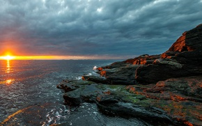 Picture sea, the sky, the sun, clouds, stones, dawn, coast, horizon, Norway, Rogaland