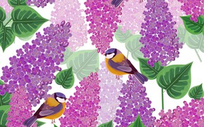 Picture flowers, birds, Texture, lilac